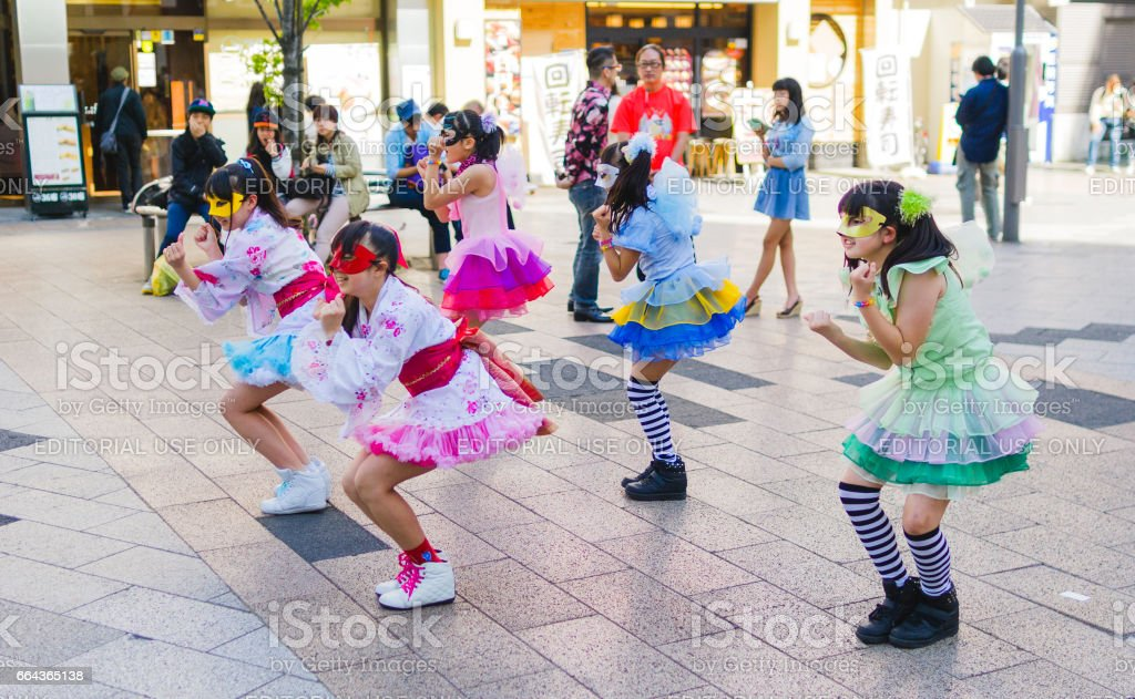 Japanese girl group performance stock photo