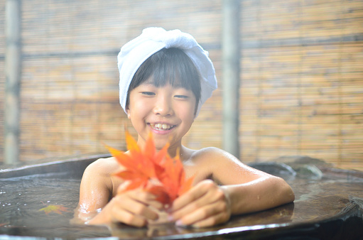 Japanese Girl Having A Bath Stock Photo - Download Image Now