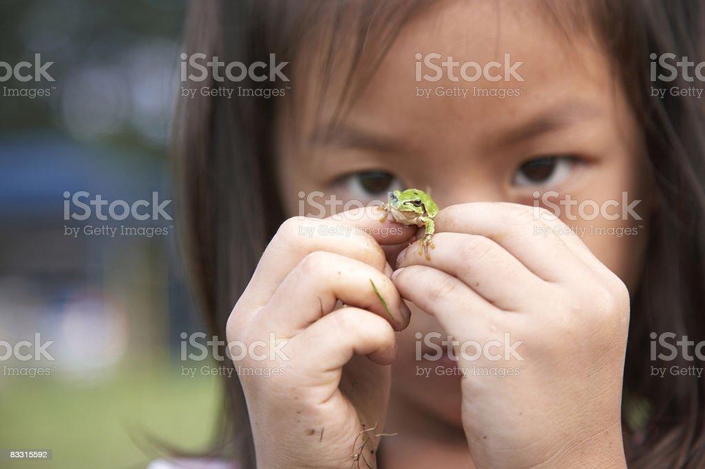Japanese girl holding a frog royaltyfri bildbanksbilder