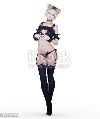 930464366 istock photo Japanese girl in black bustier and stockings. 930464366