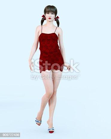 istock Japanese girl in short red dress in flower. 909722436