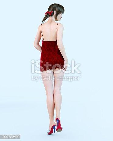 istock Japanese girl in short red dress in flower. 909722492