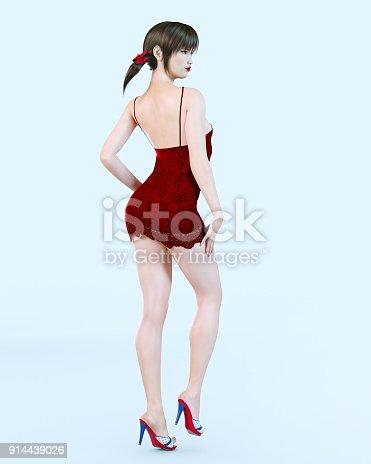 istock Japanese girl in short red dress in flower. 914439026