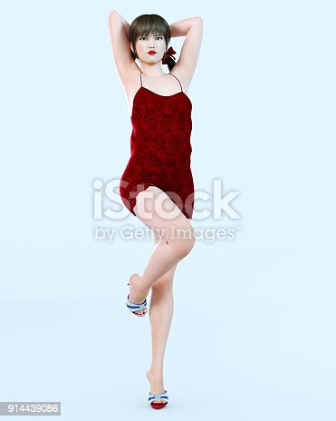 istock Japanese girl in short red dress in flower. 914439086