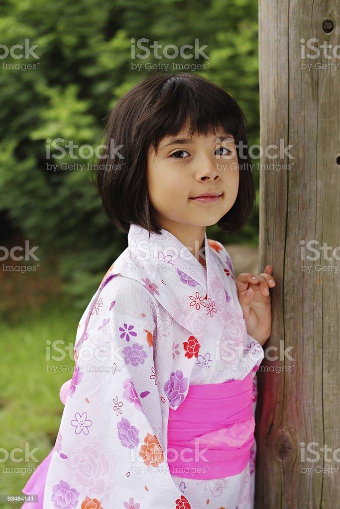 Japanese girl in white kimono royalty-free stock photo