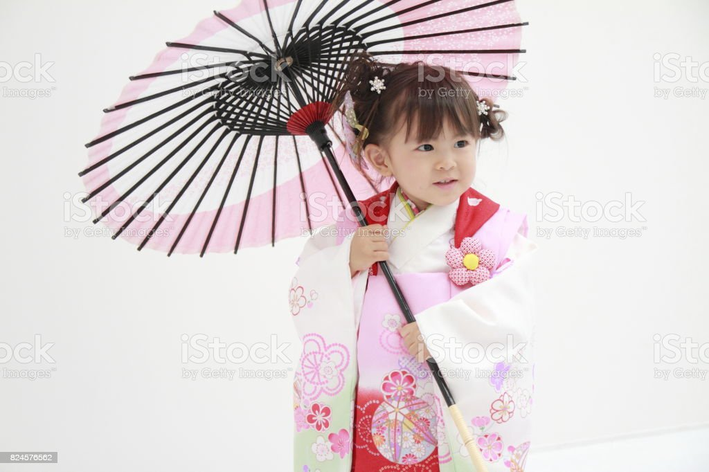 Japanese girl on Seven-Five-Three festival (3 years old) stock photo