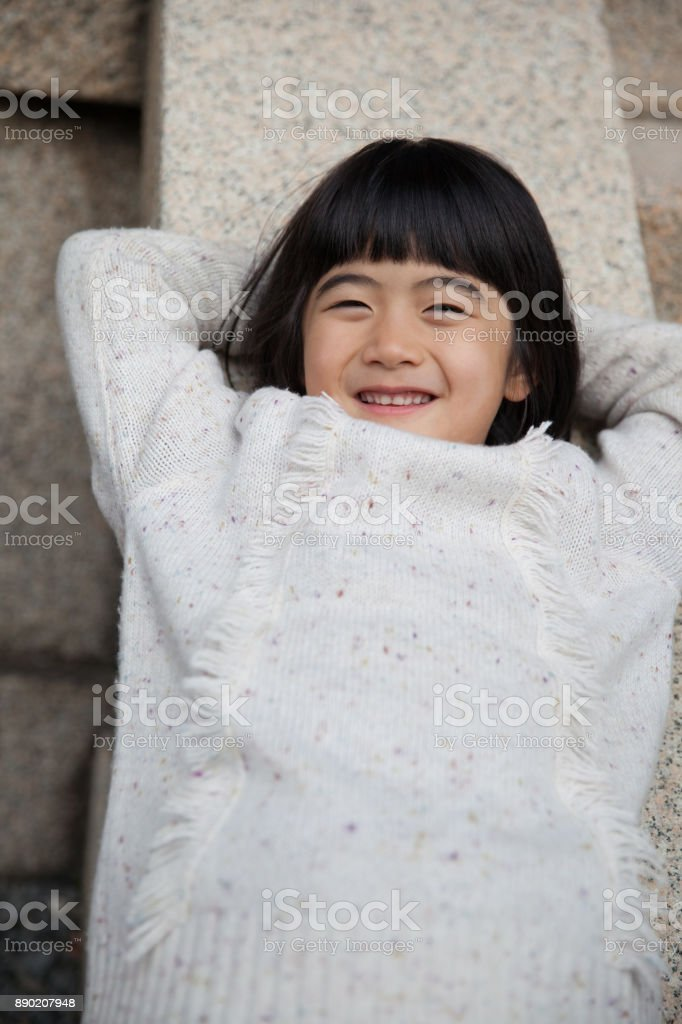 Japanese girl relaxing stock photo
