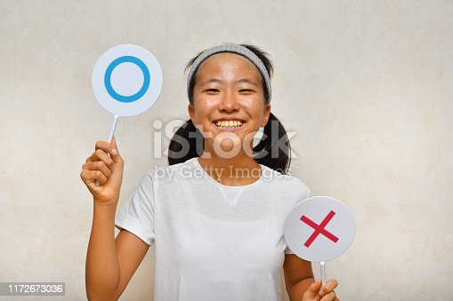 Japanese girl takes out the Okay plate