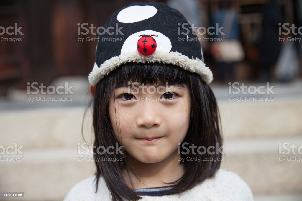 Japanese girl with cute cap stock photo