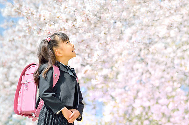 Japanese girl with pink Randoseru stock photo