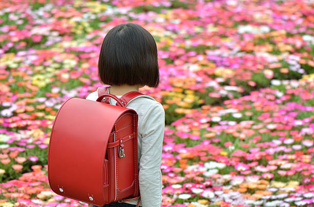 Japanese girl with Randoseru stock photo