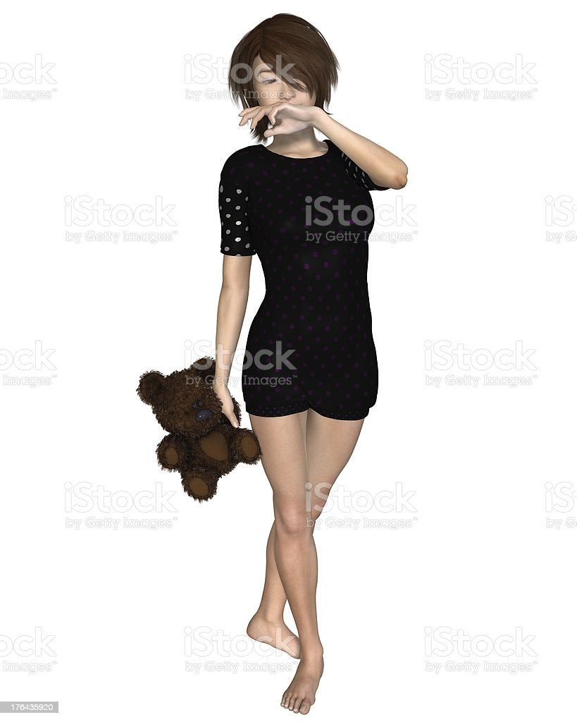 Japanese Girl with Teddy Bear royalty-free stock photo