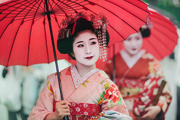 Japanese girls in Kimonos stock photo
