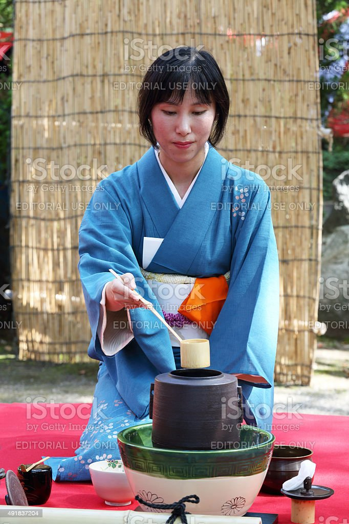 Japanese green tea ceremony in garden stock photo