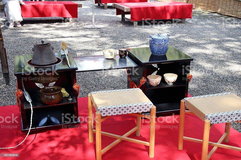Japanese green tea ceremony stock photo
