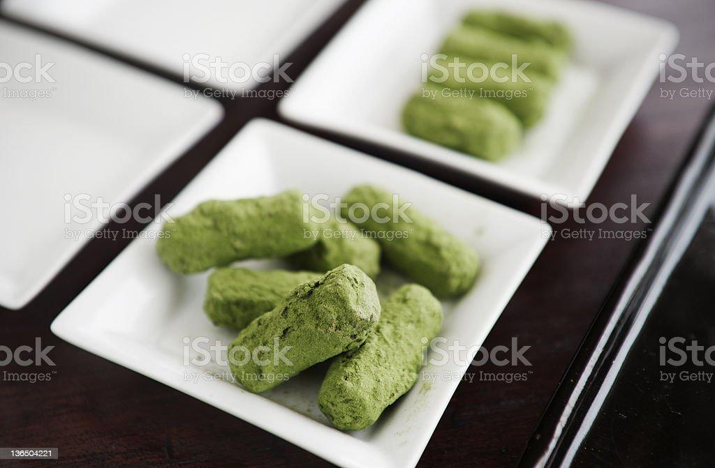 Japanese green tea truffles royalty-free stock photo