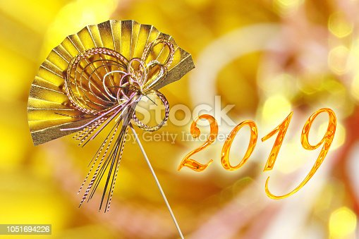 istock 2019 japanese greeting card with traditional decoration golden fan 1051694226