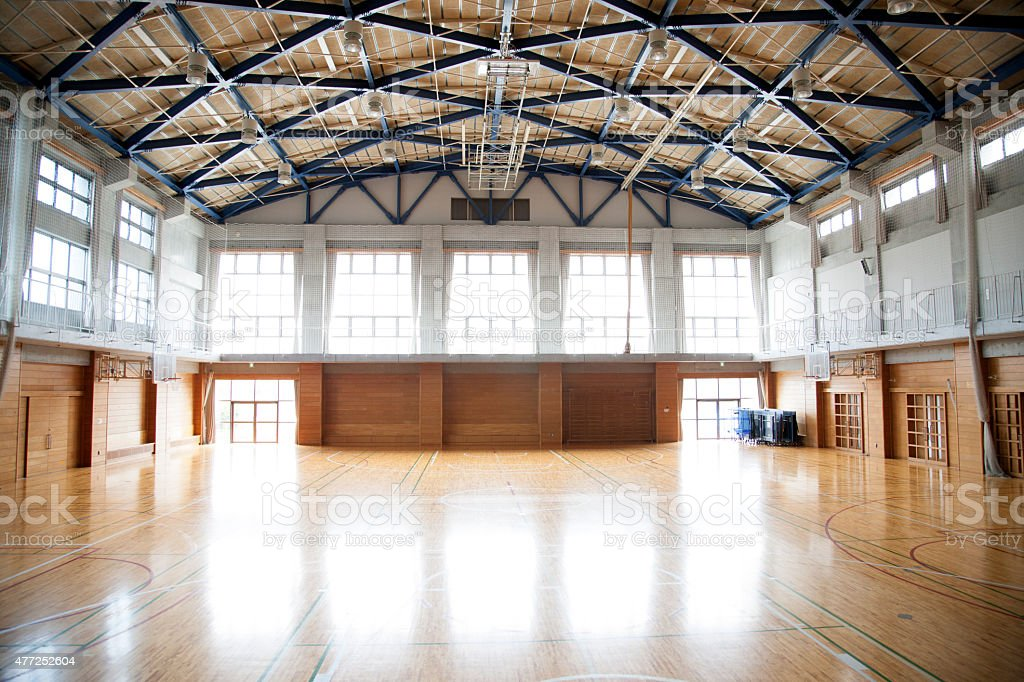 Japanese high school. An empty school gymnasium. Basketball court markings stock photo