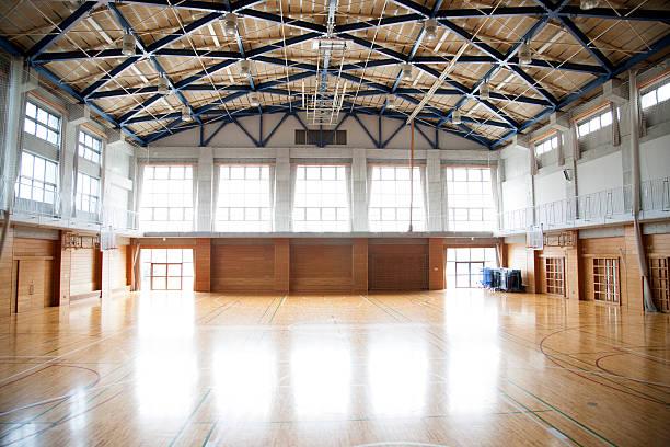 Japanese high school. An empty school gymnasium. Basketball court markings stock photo