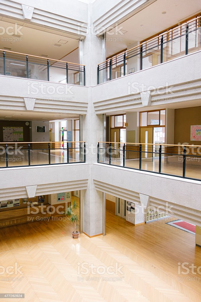 Japanese High School. Central Atrium, Entrance Hall, Contemporary  Architecture, Japan Royalty