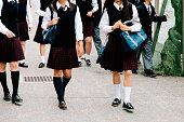 日本の高校ます。学校の子供外、unrecognisable 、学生服