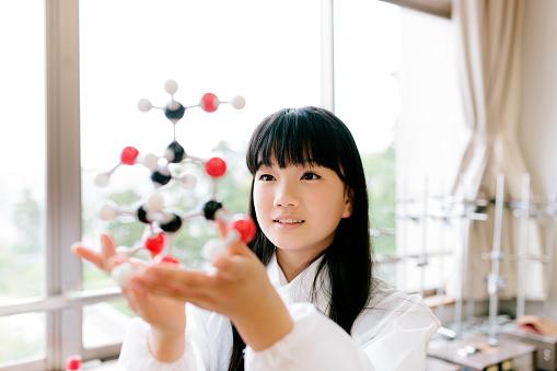 457224763 istock photo Japanese high school. Students study, science laboratory, holding molecular model 476714022