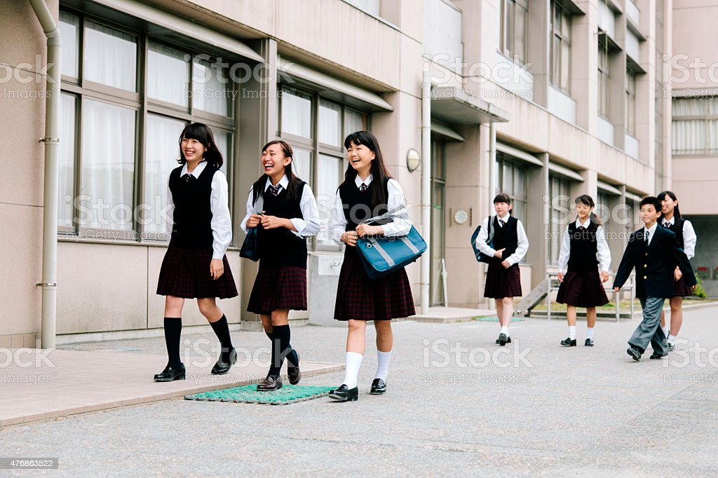 Japanese High School Young Students Walk Outside Building ...