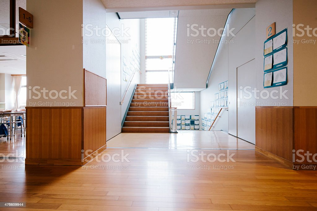 Japanese highschool. Staircase and corridor, contemporary architecture, Japan stock photo
