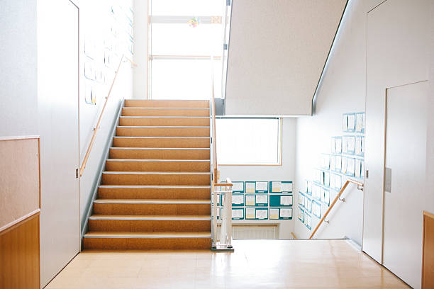 japanese highschool. staircase and corridor, contemporary architecture, japan - corridor stock photos and pictures