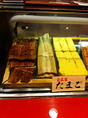 Japanese home made Dashimaki tamago and grilled Eel Unagi in a local restaurant Osaka Japan