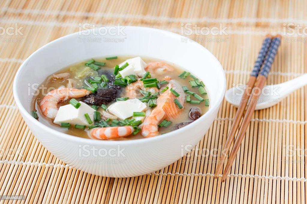 Japanese hot pot soup yosenabe stock photo