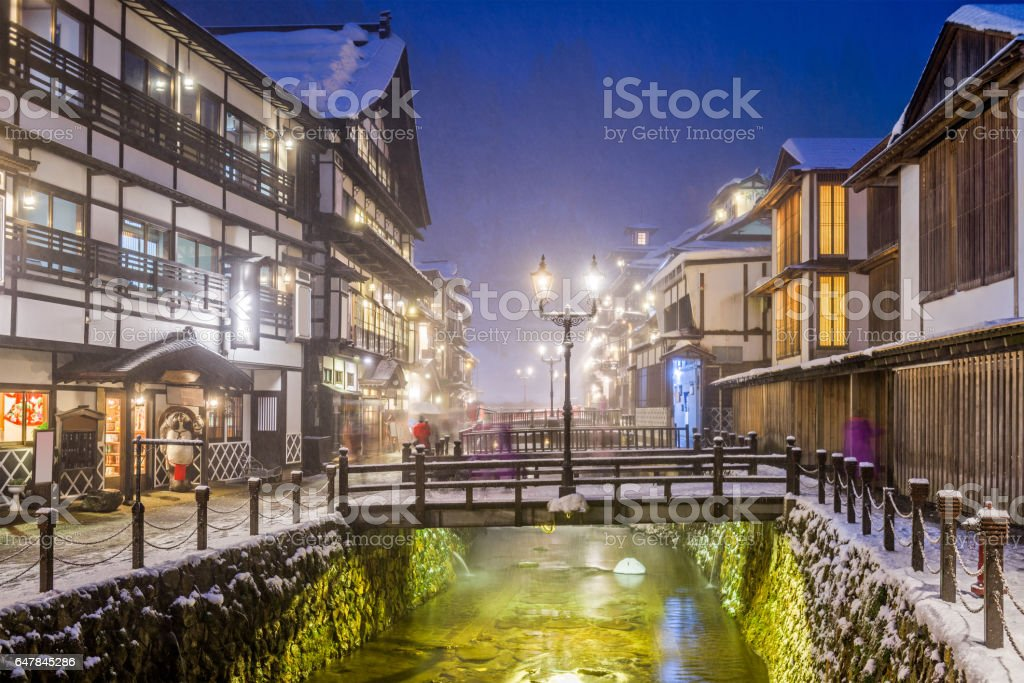 Japanese Hot Springs Town stock photo