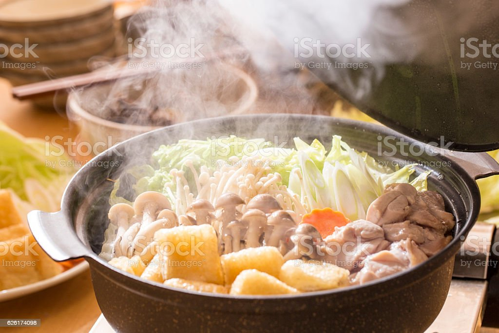 Japanese hotpot dishes stock photo