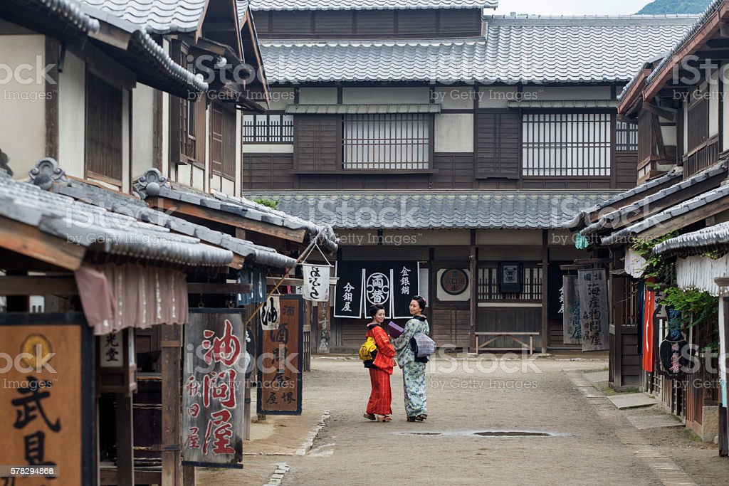 japanese housewifes with kimono in toei studio oldtown kyoto japan stock photo