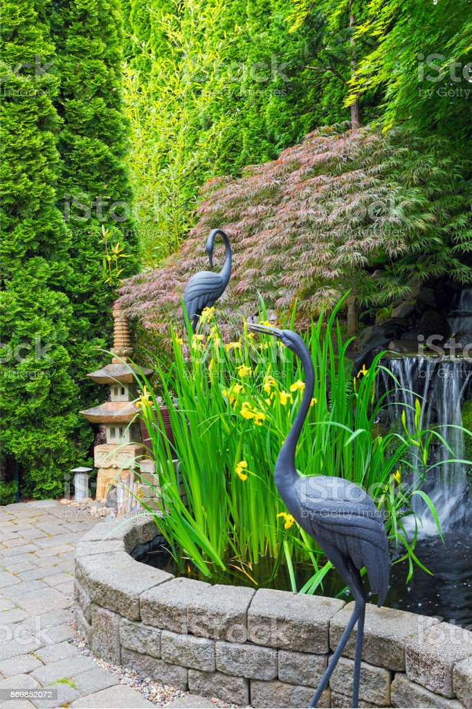 Japanese inspired backyard home garden with bronze cranes stone pagoda water fountain pond bamboo and maple trees stock photo