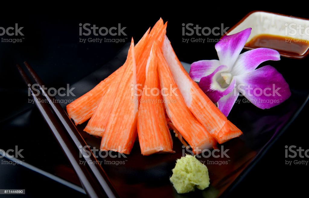 Japanese kani or crap stick cut and set. stock photo