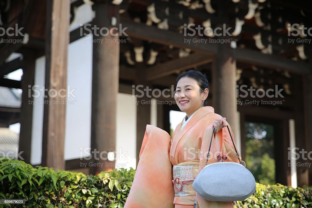 Japanese kimono walking at Tofuku temple stock photo