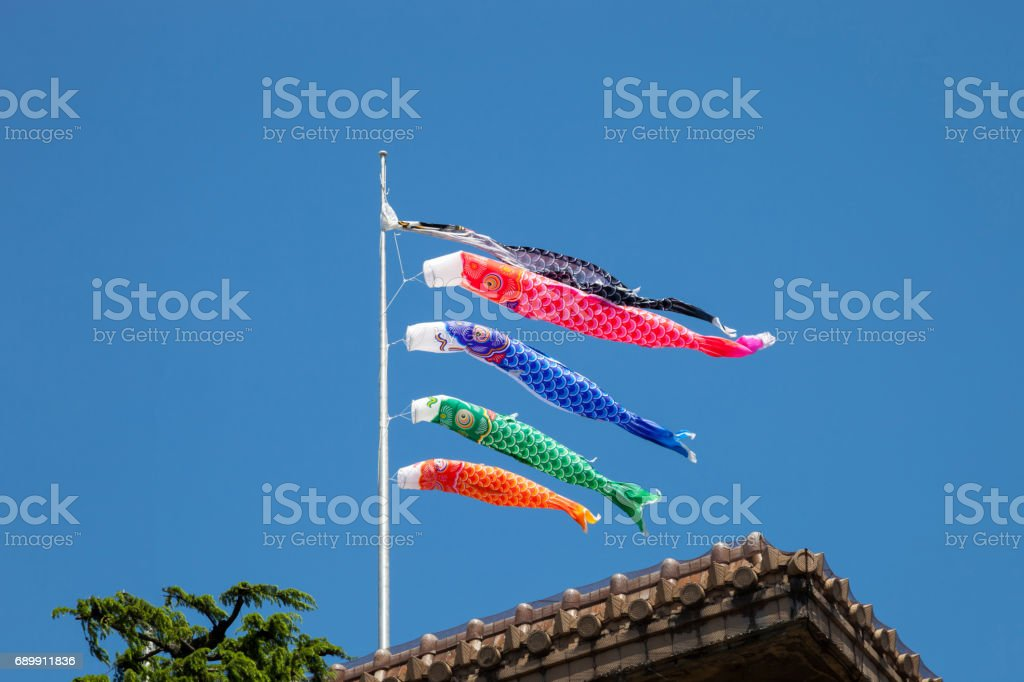 Japanese koinobori flags for Children's day on blue sky background stock photo