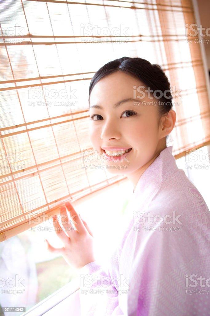 穿和服的日本夫人畫像 免版稅 stock photo
