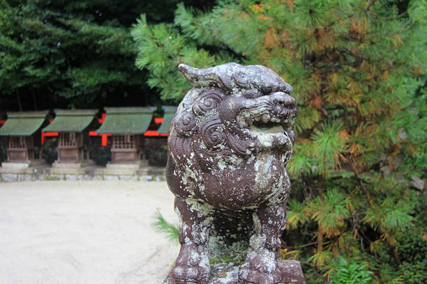 Japanese Lion Statue stock photo