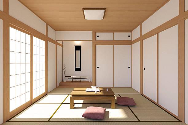 日本のリビングルームのインテリアの伝統的でシンプルなデザイン - 畳 ストックフォトと画像