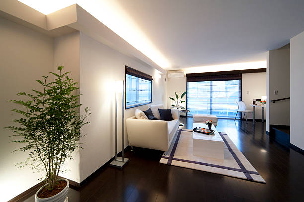 japanese living room - low lighting stock photos and pictures