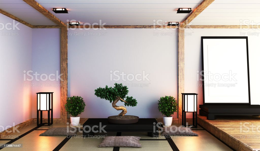 Japanese Living Room With Lamp Frame Black Low Table And Bonsai In Room White Wall On Floor Tatami Mat 3d Rendering Stock Photo Download Image Now Istock