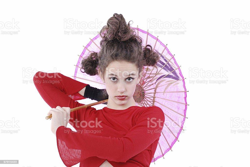 Japanese look, caucasian girl royalty-free stock photo
