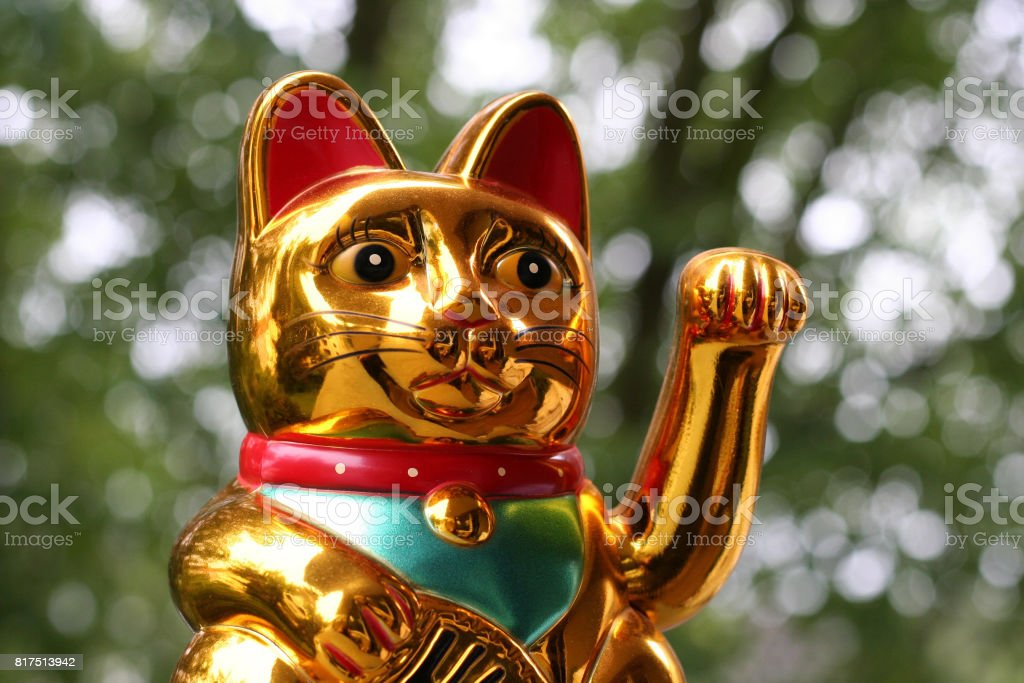 Japanese lucky cat (Maneki Neko) stock photo