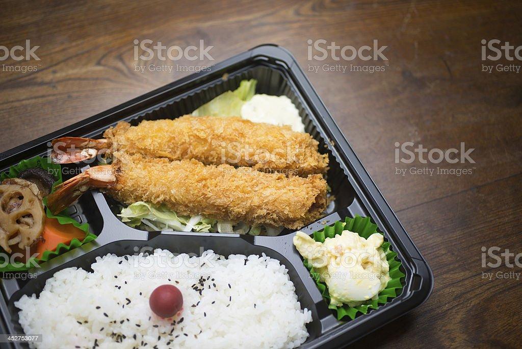 A Japanese lunch box Ebu Furai Bento, containing fried prawn stock photo