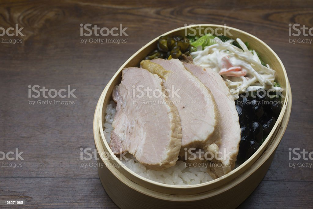 Japanese Lunch Box (煮豚弁当) royalty-free stock photo