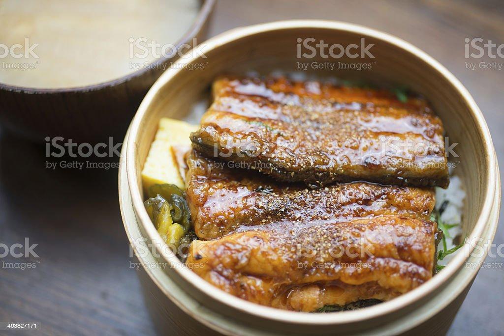 Japanischen Mittagessen in bento Box unagi Wappa – Foto