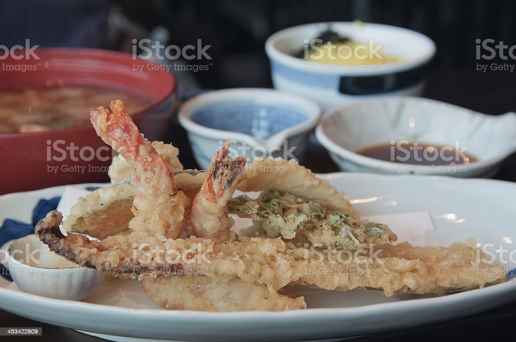 Japanese lunch with shrimp tempura and miso soup stock photo