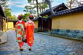 Japanese Maiko Girls in Kanazawa, Japan